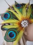 "Green & Yellow Peacock Feathers with Crystal Brooch Clip Fascinator ""Georgie"""